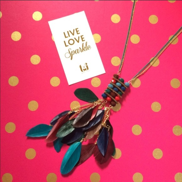T&J Designs Jewelry - Crystal Tassel and Feather Necklace